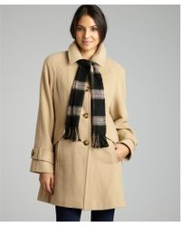 London Fog Camel Wool Blend Three Quarter Sleeve Coat with Scarf - Lyst