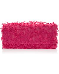Oscar de la Renta Maty Roll Bow Tweed Clutch pink - Lyst