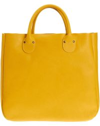 Barneys New York Yellow Leather Tote - Lyst