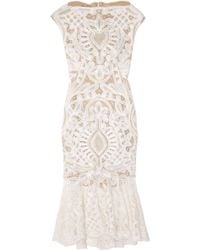 Alexander McQueen Crochet-embroidered Silk-organza Dress - Lyst