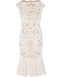 Alexander McQueen Crochet-embroidered Silk-organza Dress pink - Lyst