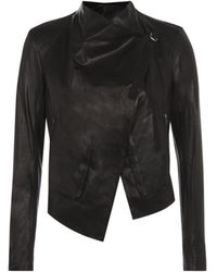 Helmut Lang Waxed Shine Cropped Leather Jacket - Lyst
