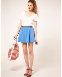 ASOS Collection Asos Ponti Mini Skirt with Belt - Lyst