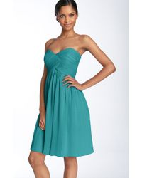 Donna Morgan 'Morgan' Strapless Silk Chiffon Dress - Lyst