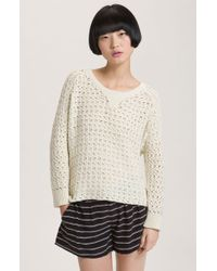 Joie Crawford Loose Knit Varsity Sweater - Lyst