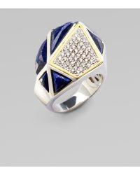 Kara Ross - White Sapphire & Lapis Pyramid Ring - Lyst