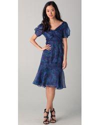 Zac Posen Short Sleeve Floral Dress - Lyst
