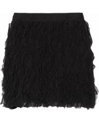 DKNY Ruffled Silk-chiffon Mini Skirt - Lyst