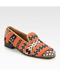 Cobra Society Najet Woven Leather-trim Loafers orange - Lyst