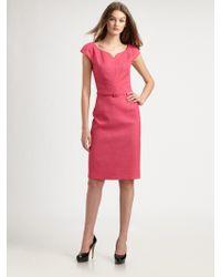 David Meister Belted Dress pink - Lyst