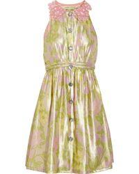 Marc Jacobs Metallic Floral-print Silk-blend Dress - Lyst