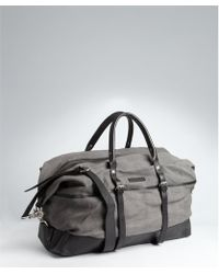 John Varvatos Grey Canvas And Leather Travel Bag Lyst