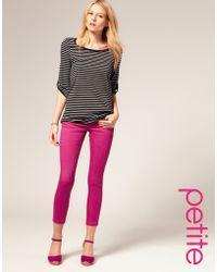 ASOS - Asos Petite Pink Skinny Capri Jeans - Lyst