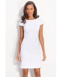 Calvin Klein Cap Sleeve Cotton Jacquard Dress - Lyst