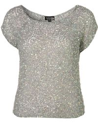 Topshop Mermaid Sequin T-shirt - Lyst