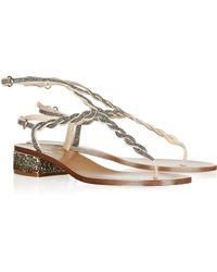 Valentino Crystal-Embellished Leather Sandals - Lyst