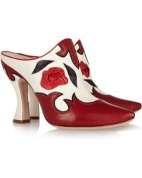 Miu Miu Western Leather Mules - Lyst