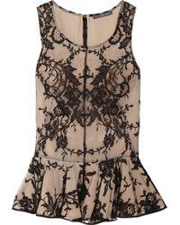 Alexander McQueen Lace and Silk Peplum Top black - Lyst