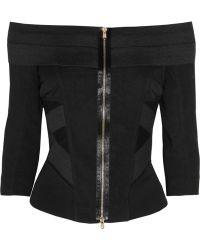 Donna Karan New York Stretch-jersey and Linen-blend Top - Lyst