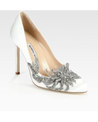 Manolo Blahnik Embellished Satin Point Toe Pumps - Lyst
