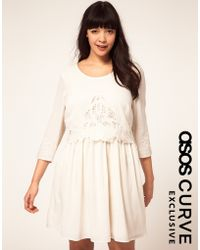 Asos Curve Exclusive Dress With Floral Cutwork - Lyst