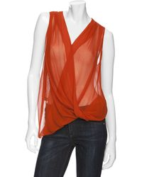 Maggie Ward - Knit Back Colored Chiffon Top - Lyst