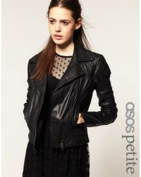 ASOS Collection Asos Petite Leather Biker Jacket - Lyst