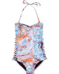 Seventh Wonderland - Rever Marbled-print Bandeau Swimsuit - Lyst