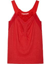 Vanessa Bruno Athé Lace Detail Tank Top - Lyst