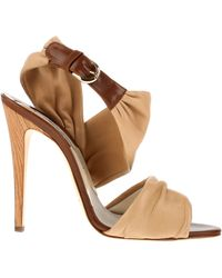 Brian Atwood Calfskin Leather Sandals with Wooden Heels - Lyst