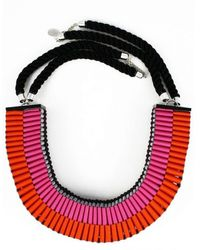 Jennifer Loiselle The Clemence Woven Necklace in Pinkorange - Lyst