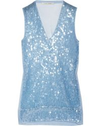 Marc Jacobs Sequined Fineknit Cottonblend Tank - Lyst