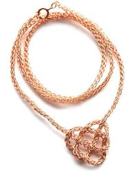 Yoola Celtic Heart Rose Gold Crochet Necklace - Lyst