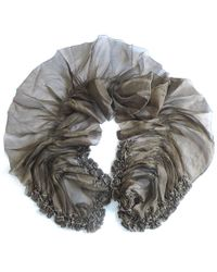 Yuh Okano Godiva Silk Habutai Bottom Ruffle Scarf With - Lyst