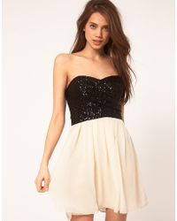 TFNC Tfnc Dress with Sequin Bandeau Chiffon Skirt - Lyst