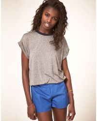 ASOS Collection Asos Tshirt with Gathered Waist and Contrast Band - Lyst
