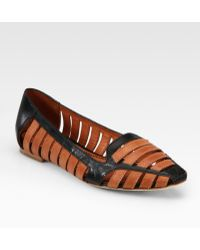 Elizabeth and James | Gemma Cutout Leather Point Toe Loafers | Lyst