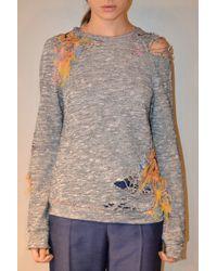 Jen Kao | Linen Jersey W Bunout Embroidery Datura Sweatshirt | Lyst