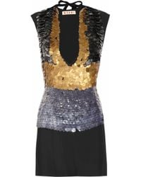 Marni Embellished Crepe Two Piece Dress gold - Lyst