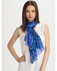 Roberto Cavalli Abstract Striped Printed Silk Scarf - Lyst