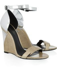 Bottega Veneta Karung and Metallic Leather Sandals - Lyst