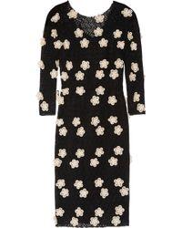 Dolce & Gabbana Flowerappliquéd Cottonlace Dress - Lyst