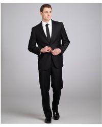 Joseph Abboud - Black Wool Super 120s Tonal Stripe Suit with Flat Front Trousers - Lyst