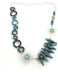 Sari Glassman Ooak Silvered Turquoise Love Birds Lampwork Ne - Lyst