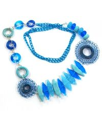 Sari Glassman Ooak Turquoise Love Birds Lampwork Necklace - Lyst
