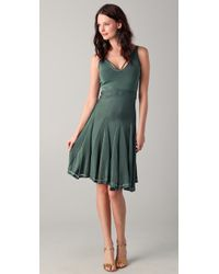 Zac Posen - Dress V Neck with Pleated Skirt - Lyst