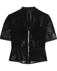 Alexander Wang Mesh And Twill Jacket - Lyst