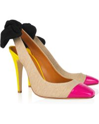 Carven Linen and Patentleather Slingbacks - Lyst