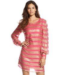 Dallin Chase - Beaded Stripe Longsleeve Shift Dress - Lyst