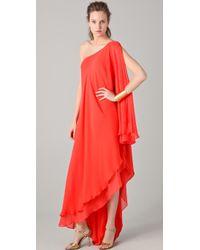 Halston Heritage One Shoulder Cascade Gown - Lyst